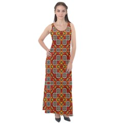 Tile Background Image Pattern Sleeveless Velour Maxi Dress
