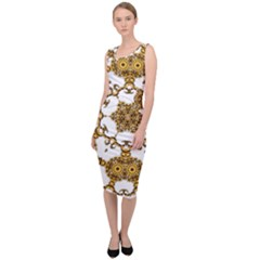 Fractal Tile Construction Design Sleeveless Pencil Dress