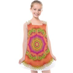 Pattern Colorful Abstract Kids  Cross Back Dress