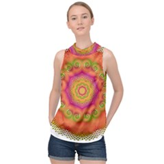 Pattern Colorful Abstract High Neck Satin Top
