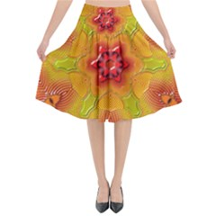 Pattern Symbol Ornament Symbolism Flared Midi Skirt