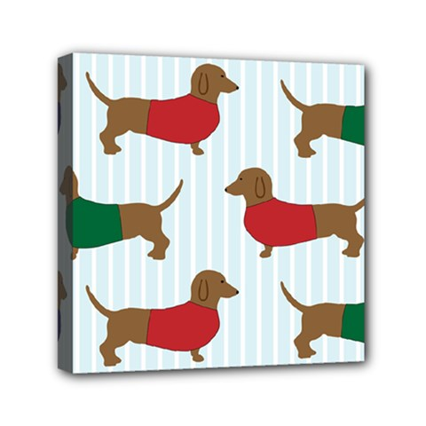 Dachshund Dog Cartoon Mini Canvas 6  X 6  (stretched)