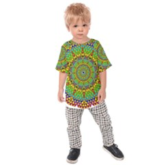 Tile Background Image Graphic Fractal Mandala Kids  Raglan Tee