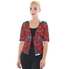 Mandala Fractal Graphic Design Cropped Button Cardigan
