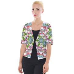 Floral Wreath Tile Background Image Cropped Button Cardigan