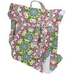Floral Wreath Tile Background Image Buckle Up Backpack by Pakrebo