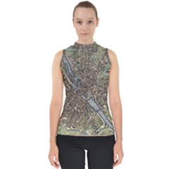 Paris Map City Old Mock Neck Shell Top