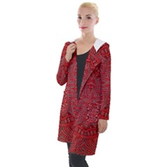 Tile Background Image Graphic 35 Red Hooded Pocket Cardigan