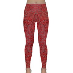 Tile Background Image Graphic 35 Red Lightweight Velour Classic Yoga Leggings