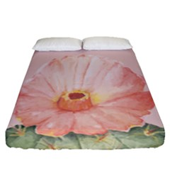 Cactus Flower On Pink Ink Fitted Sheet (queen Size) by goljakoff