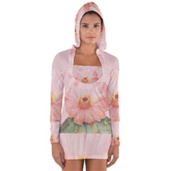 Cactus Flower On Pink Ink Long Sleeve Hooded T Shirt by goljakoff