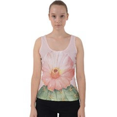 Cactus Flower On Pink Ink Velvet Tank Top by goljakoff