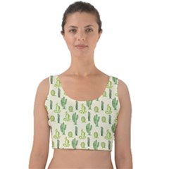 Cactus Pattern Velvet Crop Top by goljakoff