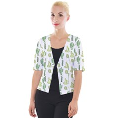 Cactus Pattern Cropped Button Cardigan by goljakoff