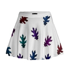 Blue Purple Leaves Mini Flare Skirt by LoolyElzayat
