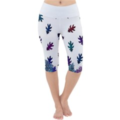 Blue Purple Leaves Lightweight Velour Cropped Yoga Leggings by LoolyElzayat