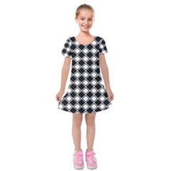 Black And White Diamonds Kids  Short Sleeve Velvet Dress by retrotoomoderndesigns