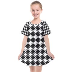 Black And White Diamonds Kids  Smock Dress by retrotoomoderndesigns