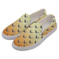 Blue Bird Of Happiness   Sunset Colourglide   By Larenard Men s Canvas Slip Ons by LaRenard