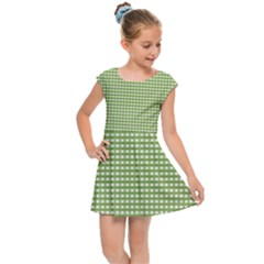 Green Gingham Kids  Cap Sleeve Dress