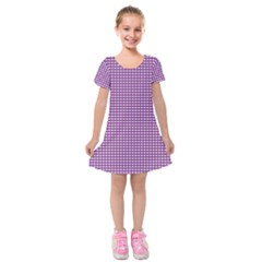 Purple Gingham Kids  Short Sleeve Velvet Dress by retrotoomoderndesigns