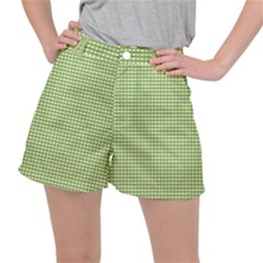 Green Gingham Stretch Ripstop Shorts