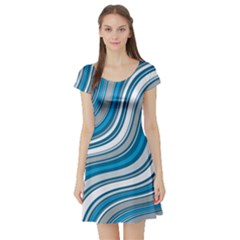 Blue Wave Surges On Short Sleeve Skater Dress by WensdaiAddamns
