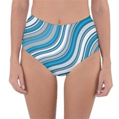 Blue Wave Surges On Reversible High Waist Bikini Bottoms by WensdaiAddamns