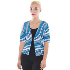 Blue Wave Surges On Cropped Button Cardigan