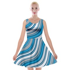 Blue Wave Surges On Velvet Skater Dress by WensdaiAddamns