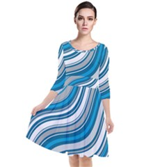 Blue Wave Surges On Quarter Sleeve Waist Band Dress by WensdaiAddamns