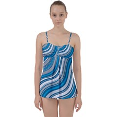 Blue Wave Surges On Babydoll Tankini Set by WensdaiAddamns