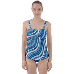 Blue Wave Surges On Twist Front Tankini Set by WensdaiAddamns