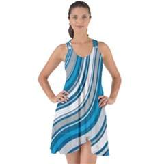 Blue Wave Surges On Show Some Back Chiffon Dress
