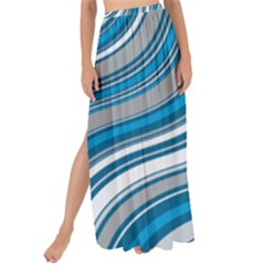 Blue Wave Surges On Maxi Chiffon Tie Up Sarong by WensdaiAddamns