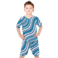 Blue Wave Surges On Kids  Tee And Shorts Set by WensdaiAddamns