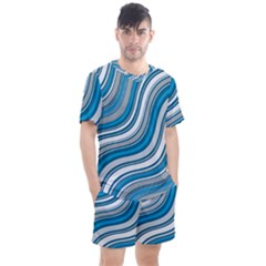 Blue Wave Surges On Men s Mesh Tee And Shorts Set