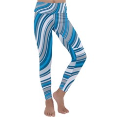 Blue Wave Surges On Kids  Lightweight Velour Classic Yoga Leggings by WensdaiAddamns
