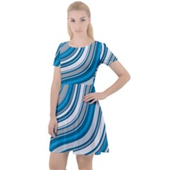 Blue Wave Surges On Cap Sleeve Velour Dress  by WensdaiAddamns
