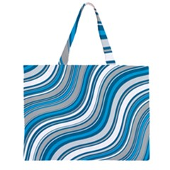 Blue Wave Surges On Zipper Large Tote Bag by WensdaiAddamns
