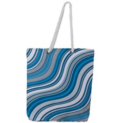 Blue Wave Surges On Full Print Rope Handle Tote (large) by WensdaiAddamns