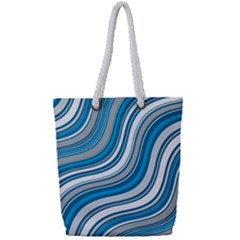 Blue Wave Surges On Full Print Rope Handle Tote (small) by WensdaiAddamns