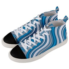 Blue Wave Surges On Men s Mid Top Canvas Sneakers by WensdaiAddamns
