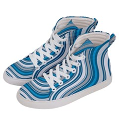 Blue Wave Surges On Men s Hi Top Skate Sneakers by WensdaiAddamns