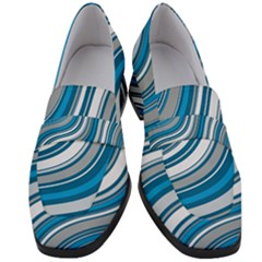 Blue Wave Surges On Women s Chunky Heel Loafers by WensdaiAddamns