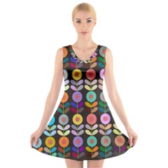 Zappwaits Flowers V-neck Sleeveless Dress