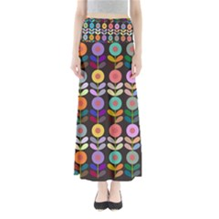 Zappwaits Flowers Full Length Maxi Skirt