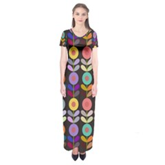 Zappwaits Flowers Short Sleeve Maxi Dress