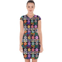 Zappwaits Flowers Capsleeve Drawstring Dress