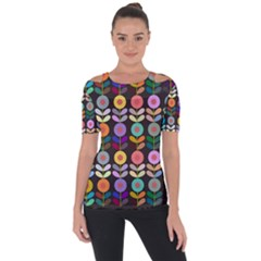 Zappwaits Flowers Shoulder Cut Out Short Sleeve Top